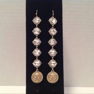 Thalia Sodi Gold Tone Long Crystal Lion Earrings